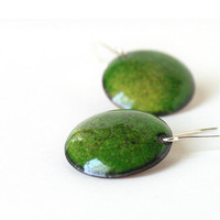 Enamel earrings green emerald round summer fashion artisan by Alery