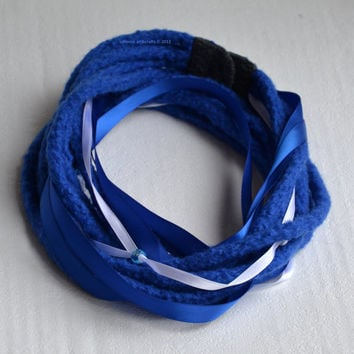 Felted multistrand scarf necklace Woolen neck warmer Blue merino wool, blue and off white satin band, blue beads. Dreadlock scarf