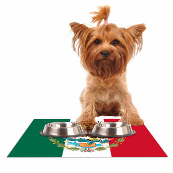 "Bruce Stanfield ""Mexico Flag And Coat Of Arms"" Red Green Dog Place Mat"
