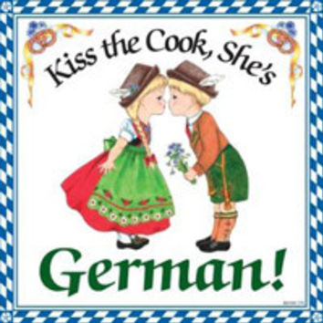German Gift Idea Tile: Kiss German Cook