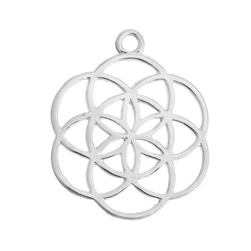"DoreenBeads Alloy Seed Of Life Pendants Flower Silver Plated/Gold plated Hollow Carved 42mm(1 5/8"") x 34mm(1 3/8""), 5 PCs"