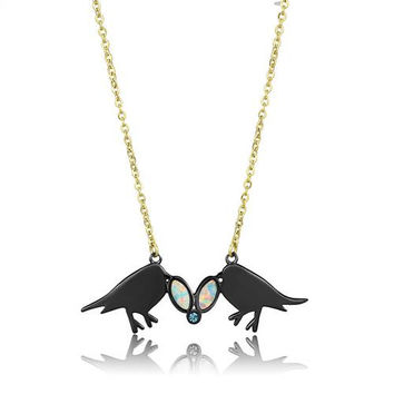 Love Birds & Australian White Opal 14K Gold Pendant Necklace & Earrings