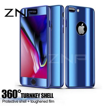 ZNP 360 Degree Protection Case For iphone X 10 8 7 6 6s Plus Plating Mirror Cover Phone Cases For iphone 6 7 8 X Case With Glass