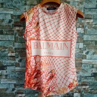 """Balmain"" Fashion Letter Multicolor Stripe Print Sleeveless Vest Women Buttons Decoration Casual T-shirt Tops"