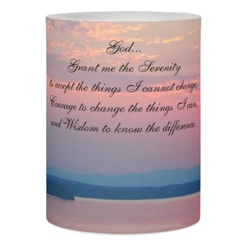 Serenity Prayer Pink Seascape Photo Flameless Candle