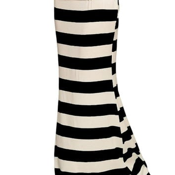 Anything Goes Striped Maxi Skirt - (Black/White)