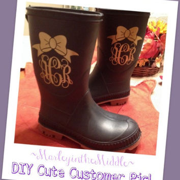 SET OF 2 - Rain Boot Bow Monogram Decals - Adult or Kids Boots - Single Color Design - DIY