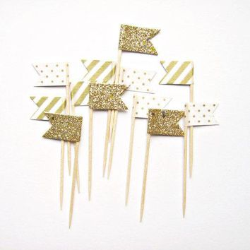 12 Gold Stripe Glitter & Polka Dot Flag Cupcake Toppers   Washi Tape Cupcake Toppers Wedding Engagement Birthday Baby Shower Tea Party