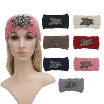 Solid Wide Knitting Woolen Headband Winter Warm