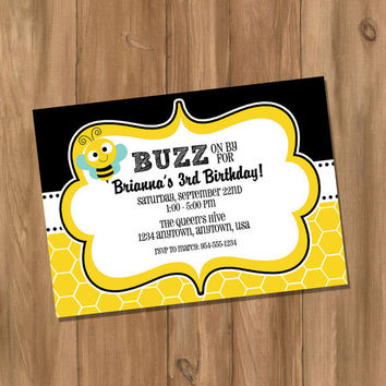 Bumble Bee Birthday Party Invitation (Digital - DIY)