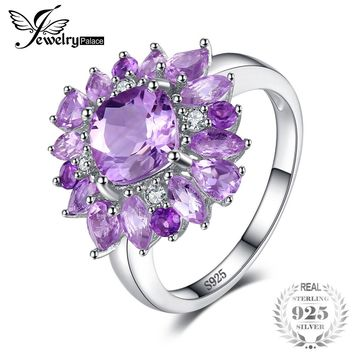 JewelryPalace Luxury 2.47ct Natural Purple Amethyst Engagement Rings For Women Genuine 925 Sterling Silver Party Fashion Jewelry