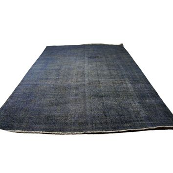 9x13 Vintage Persian Rug Distressed Denim Blue 2877