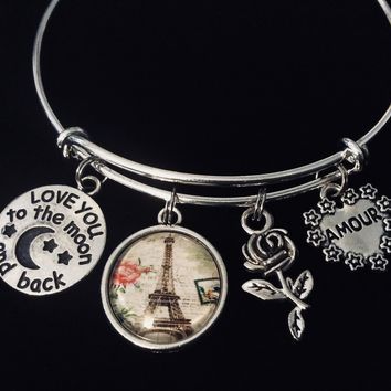 Amour Paris I Love you to the Moon and Back Silver Expandable Charm Bracelet Adjustable Wire Bangle Gift