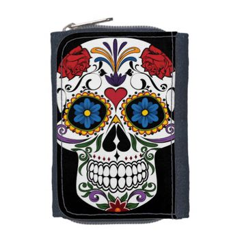 Colorful Sugar Skull Denim Wallet