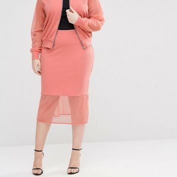 Pink Clove Skirt With Sheer Hem at asos.com