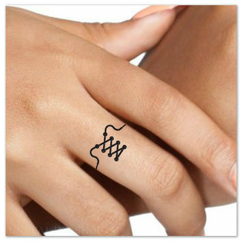 Temporary Tattoo Shoelace Finger Fake Tattoos Thin Durable