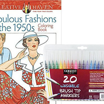 Sargent Art Washable Firm Brush Tip Markers in a Case, Set of 20 and Dover Adult Coloring Book, Fabulous Fashions of the 1950's by: Stress Relieving Patterns to Relax and Enjoy!