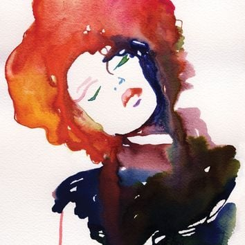 "Print of Watercolor, Fashion Illustration. 13""x 19"". Titled: Model Ink"