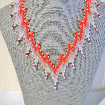 Red Bargello necklace with Swarovski crystal, statement necklace, bargello pattern, wedding jewelry, Brides necklace, Crystal jewelry