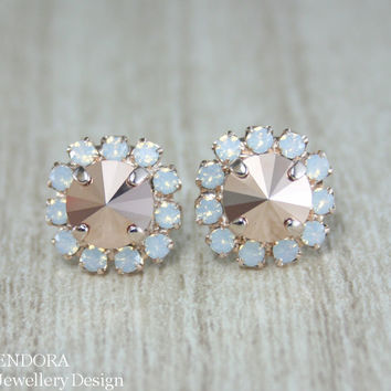 Rose gold earrings,Rose gold stud earring,Rose gold Swarovski crystal rivoli earring,Rose gold white opal stud earring,rose gold bridal
