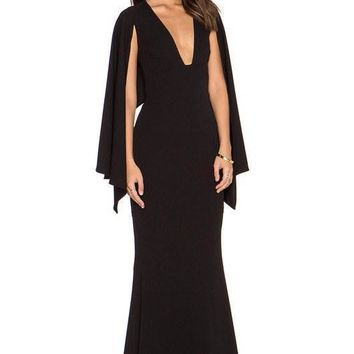 Black V-Neck Cape Bodycon Gown Dress