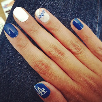 I LOVE LA Dodgers blue and white nail decals Hollywooooooood