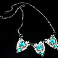 "Art Deco Bib Necklace Aqua Blue Rhinestones Heart Design Silver Cast Metal 16"" Vintage"