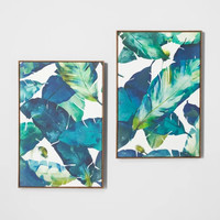 "Tropical Palm 2pk Framed Wall Canvas Blue 23.2""x 35.2"" - Opalhouse™"