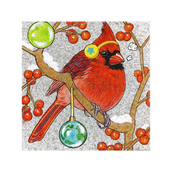 Male Cardinal 2 - Winter Bird Series Illustration - Winter, Holiday, Christmas Theme - Birds Art - 8 x 8 Print - Fine Art Print - Wall Art