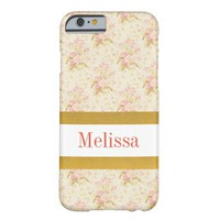 Personalizable Pink Floral Pattern iPhone Case