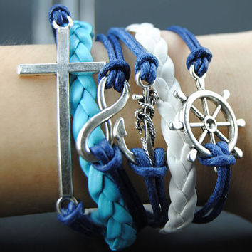 Hand Chain Anchor bracelet - cross bracelet,antique silver Sapphire blue Wax Cords Blue and White Braided Leather Charm Bracelet