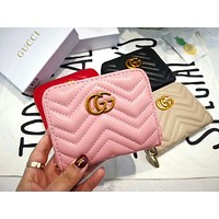 GUCCI Popular Women Leather Simple Metal Zipper Wallet Purse Pink I-AGG-CZDL