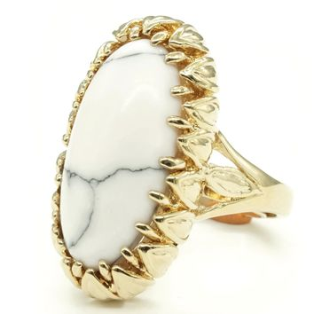 Claw Wrapped Oblong Simulated Howlite Stone Adjustable Fashion Ring in Gold Tone