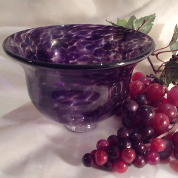 Footed Bowl - Hand Blown Glass Art