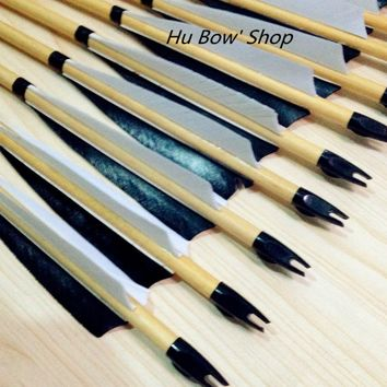 12pcs New Traditional wooden Arrows 35-60 LONGBOW recurve hunting shooting wooden arrow