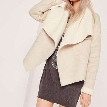 Missguided - Faux Shearling Waterfall Jacket Nude