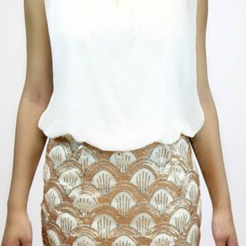 Show Time Dress in Ivory/Gold   Ark & Co