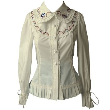 Partiss Womens Classic Vintage Embroidery Sweet Lolita Blouse Bowknots Shirt