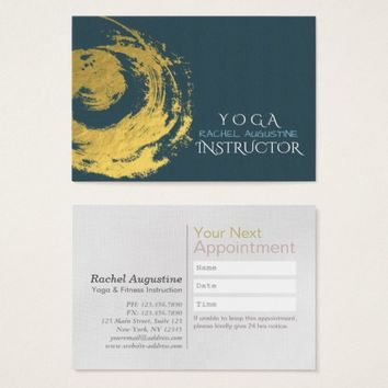 Elegant YOGA Blue Chic Gold ZEN Symbol Appointment Business Card