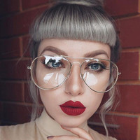 Gold Clear Glasses Myopia Clear Frame Glasses Women Eyewear Men Spectacle Frame Clear Lens Optical Aviator Glass Lunette Female