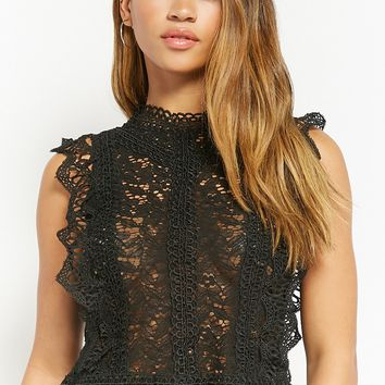 Sheer Crochet Lace High-Neck Top