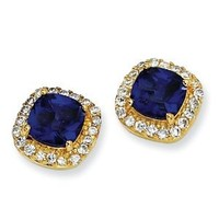 SS Gold-plated Rose-cut Synth D.Blue Spinel & CZ Post Earrings