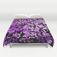 STAINED GLASS PURPLES Duvet Cover by Catspaws | Society6