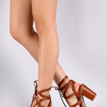Wild Diva Lounge Open Toe Strappy Lace Up Chunky Heel