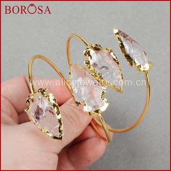BOROSA Fashion Druzy Bangles , arrowhead Crystal Quartz Bangles  Gold Quartz Adjustable Bracelet Bangles  G528
