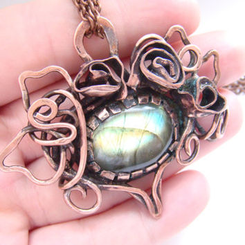 Copper Wire Wrapped pendant FREE SHIPPING, labradorite.