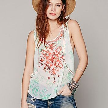 Free People Womens FP New Romantics Embroidered Tank - Ivory / Washed Black,