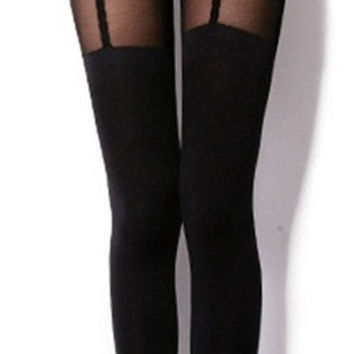 Women's Fake Garters Stockings Leggings (Size: M, Color: Black) = 1946166468