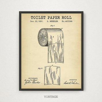 Bathroom Prints, Toilet Paper Roll Patent Poster Printable, Digital Download Blueprint Art, Bathroom Decor, Ready to Print, Vintage Patent