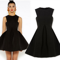 Sleeveless Pleated Skater Dress